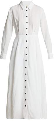 Mara Hoffman Michelle Tencel Lyocell And Linen Midi Dress - Womens - White