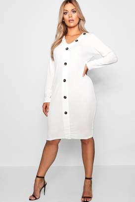 boohoo Plus Rib Horn Button Long Sleeve Midaxi Dress