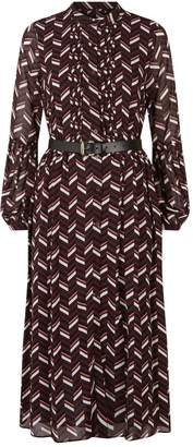 MICHAEL Michael Kors Belted Chevron Dress