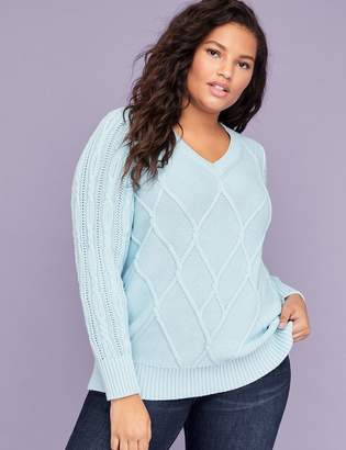 Lane Bryant V-Neck Cable Sweater