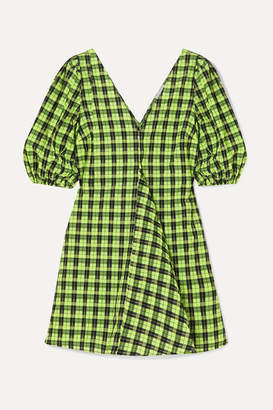 Ganni Checked Cotton-blend Seersucker Mini Dress - Green