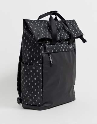 Nike black all over logo roll top backpack