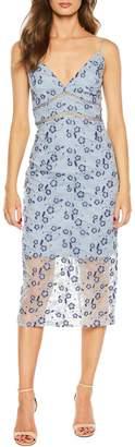 Bardot Sapphire Lace Midi Sheath Dress