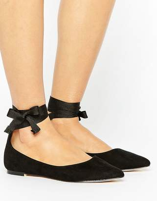 Oasis Ankle Tie Pointed Ballet Pump $38 thestylecure.com