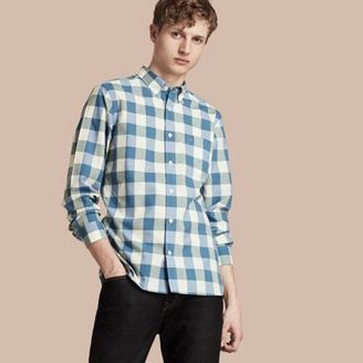 Burberry Button-down Collar Gingham Cotton Shirt $275 thestylecure.com