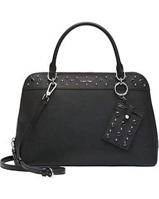 Calvin Klein womens Susan Saffiano Leather Studded Dome Satchel with Card Case Hanger
