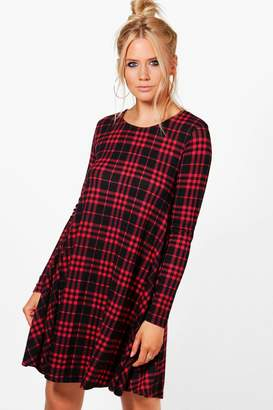 boohoo Checked Brushed Knit Swing Dress