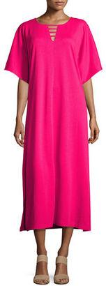 Joan Vass Long Dolman Sleeve Dress w/ Lattice Detail, Plus Size $198 thestylecure.com