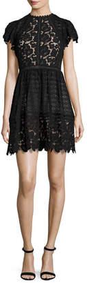 Rebecca Taylor Cap-Sleeve Mixed-Lace Dress, Black