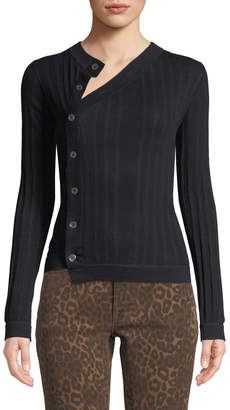 Alexander Wang Deconstructed Mother of Pearl Button-Front Sweater