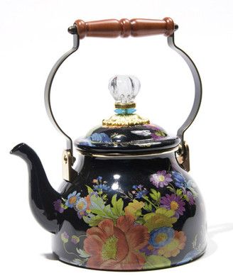 Mackenzie Childs Flower Market Black Two-Quart Tea Kettle
