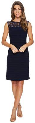 Adrianna Papell Pintucked and Lace Jersey Fit and Flare Women's Dress