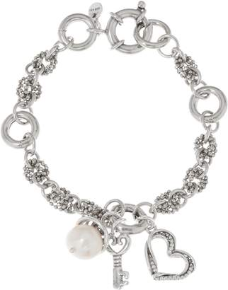 Or Paz Sterling Silver Cultured Pearl & Heart Charm Bracelet
