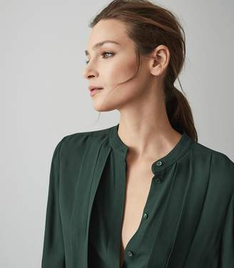 Reiss ORDER BY MIDNIGHT DEC 15TH FOR CHRISTMAS DELIVERY NICOLE PLEAT FRONT BLOUSE Dark Green