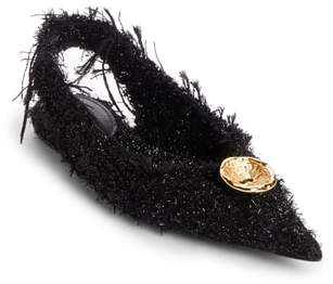Balenciaga Tweed Pointy Toe Slingback Flat