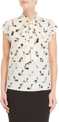 Moschino Printed Tie-Neck Silk Blouse