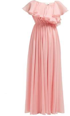 Giambattista Valli Ruffled One Shoulder Silk Crepe De Chine Gown - Womens - Light Pink