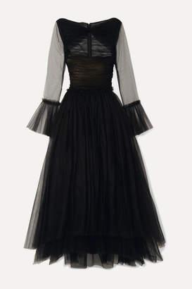 KHAITE Jean Cutout Tulle Maxi Dress - Black