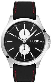 HUGO Boss Three-hand watch in stainless steel stitched rubber strap One Size Assorted-Pre-Pack