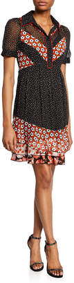 Diane von Furstenberg Lou Floral & Dot-Print Short-Sleeve Shirtdress