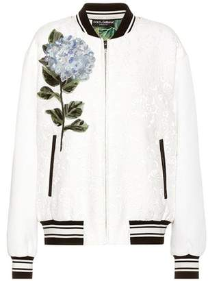Dolce & Gabbana Embellished jacquard bomber jacket