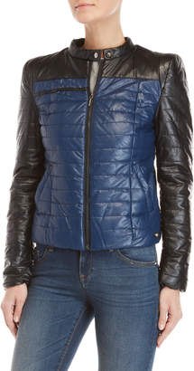 Gaudi' Gaudi Quilted Color Block Faux Leather Jacket