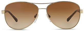 Burberry Honey Check Aviator Sunglasses, 59mm