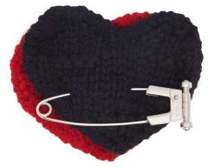 Prada Heart Safety Pin Wool Brooch - Womens - Red