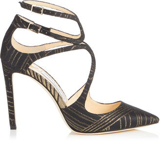 Jimmy Choo LANCER 100 Black and Gold Deco Graphic Fabric Pointy Toe Pumps