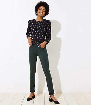 LOFT Petite Modern Double Frayed Skinny Crop Jeans in Dark Green