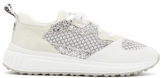 Miu Miu Glitter Embellished Suede And Mesh Trainers - Womens - White Silver