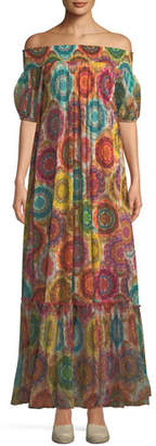 Fuzzi Kaleidoscope-Print Off-the-Shoulder Maxi Dress