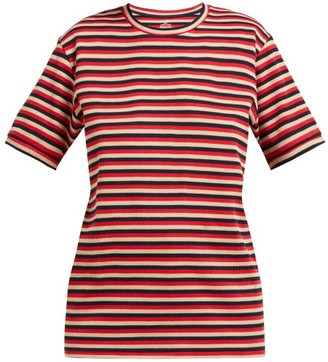 Holiday Boileau Hardy Striped Stretch Cotton T Shirt - Womens - Red Multi