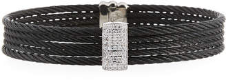 Alor Stacked Cable Bangle w/ Diamond Station