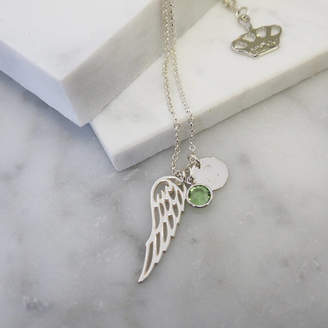 Anna Lou of London Sterling Silver Wing Birthstone Charm Necklace