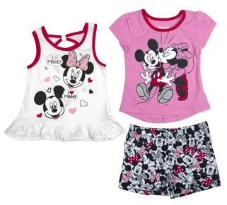 """Minnie Mouse Little Girls' 4-6X """"I Love Mickey"""" T-Shirt, Tank Top, and Short 3-Piece Outfit Set"""