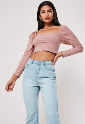 Missguided Petite Pink Puff Sleeve Top