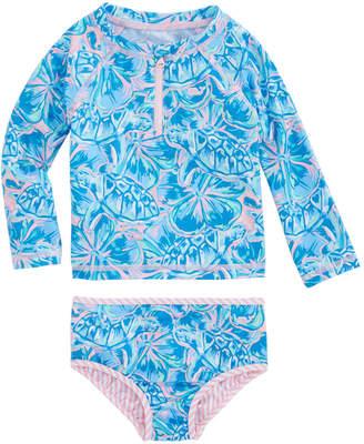 Vineyard Vines Baby Girls Tropical Turtle Rashguard Swim Set (3-24 MO)