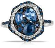 Marco Moore 14K White Gold, Diamond and Sapphire Ring