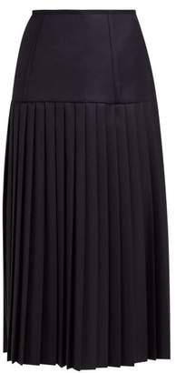 Thom Browne Pleated Wool Twill Midi Skirt - Womens - Navy Multi