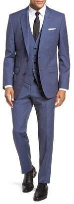 BOSS Huge/Genius Trim Fit Solid Three Piece Wool Suit