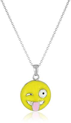 Silver Plated Emoji Winking Face with Stuck Out Tongue Pendant Necklace