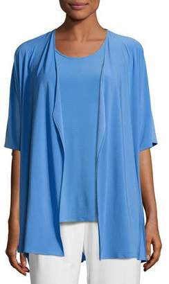 Caroline Rose Knit Open-Front Cardigan, Medium Blue, Plus Size