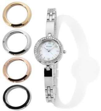 Bulova Ladies' Silvertone Bracelet Watch with Set of 5 Interchangeable Bezels $299 thestylecure.com