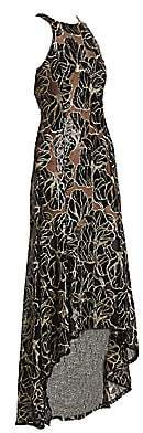 Halston Women's High-Neck Embroidered Sequin High-Low Gown