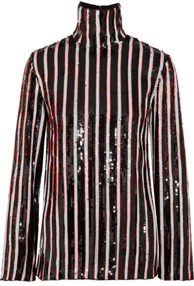 MSGM - Striped Sequined Tulle Top - Black