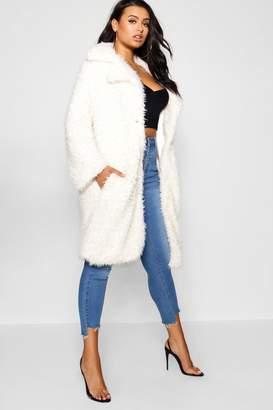 boohoo Plus Long Sleeve Faux Fur Coat