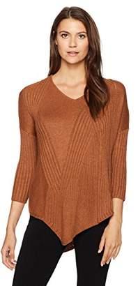 Democracy Women's 3/4 Sleeve Mixed Rib Asymmetric Vneck Sweater