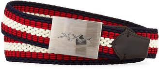 Ermenegildo Zegna XXX Engraved-Buckle Woven Belt