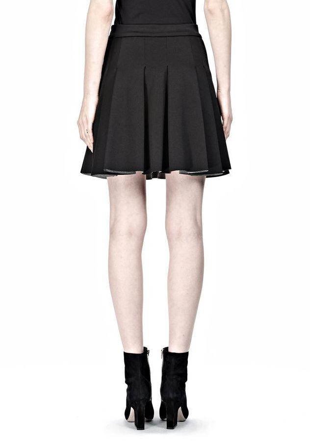 Alexander Wang Jersey Bonded Neoprene Box Pleat Skirt